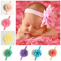 Hot Sael Infant Newborn Girl Chiffon Flower Headwear Infant Newborn Head Accessory Flower Design Popular Pattern Eighteen Colors
