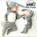 Baby Boys Girls 0-2T Cotton Bunny Footies with Cap Newborn Cosplay Homewear Clothes Children Rabbit Jumpsuit Funny Clothing
