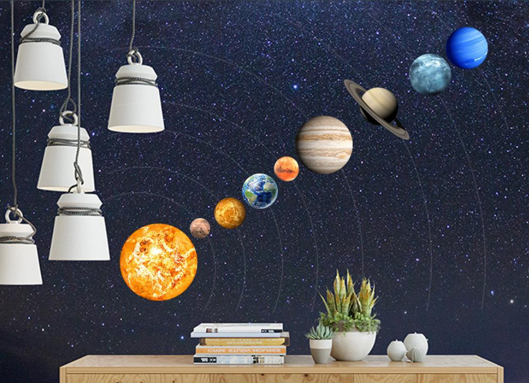 9 Glowing Planets Moon Luminous Sticker Universe Space Wall Stickers Luminous Wall Decals Children Room Decoration