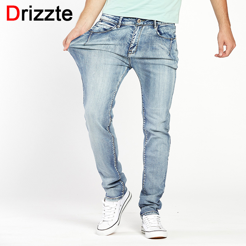 Drizzte Brand Mens Jeans Trendy Stretch Blue Grey Denim Men Slim Fit Jeans Trousers Pants Size 30 32 34 35 36 38 40 42 44 Jean(China)