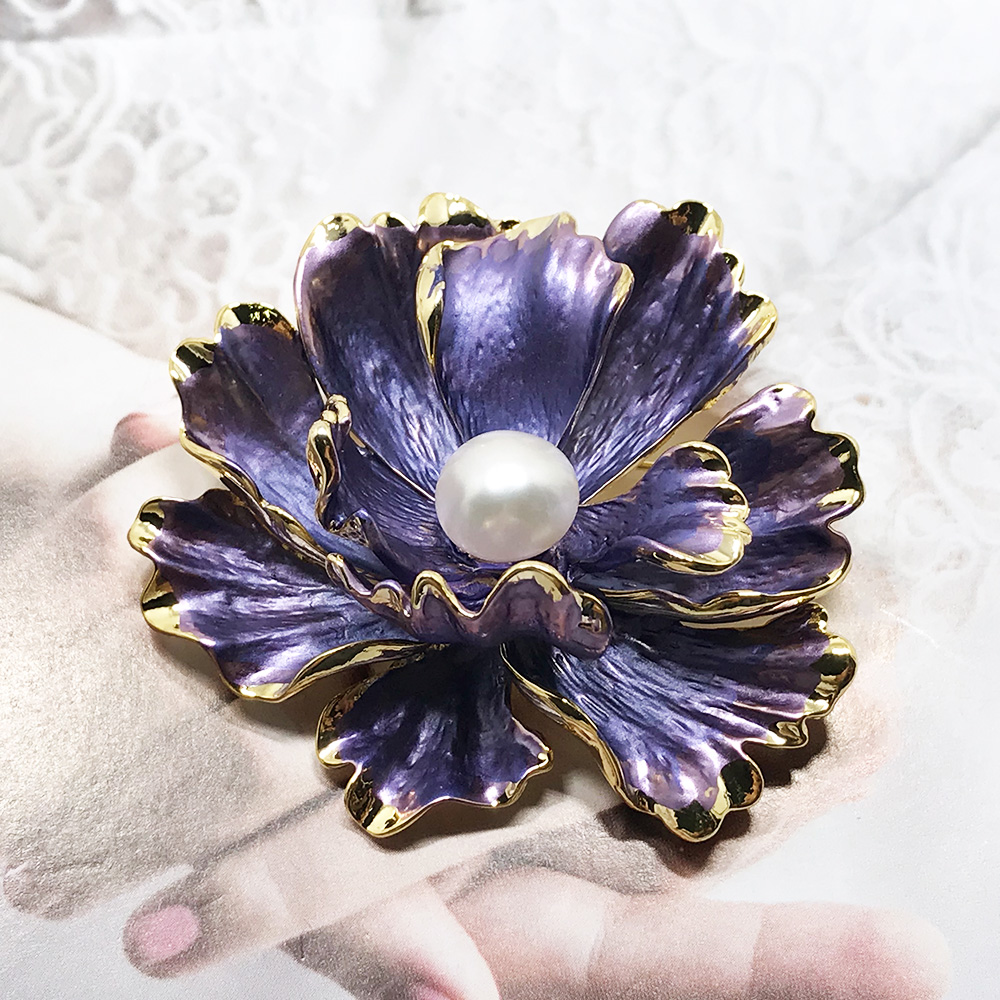 Nobuer Purple Flower Type Real Pearls Brooches For Women