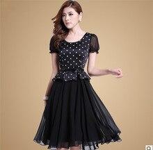 Элегантные летние стиль летнее платье женские винтажные шифон в Платья с рисунком в горошек большой размер женские черные платья длинное платье