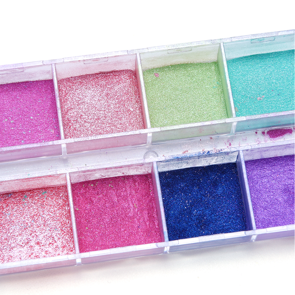 Image 3 - 12 Grid Glitter Nail Chrome Powder Dust Super fine Colorful Shimmer Flake Set Dipping Nail Art Pigment Decoration Manicure CHZGF-in Nail Glitter from Beauty & Health