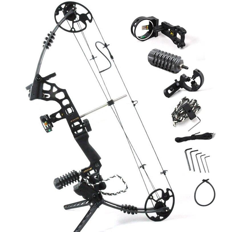Junxing M120 Sonho Preto Liga de Alumínio caça Arco Composto Com 20-70 lbs Peso Empate ajustável