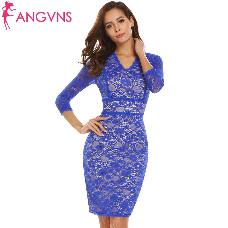 ANGVNS Women Lined Floral Lace Cocktail Bodycon Dress Elegant Party ...