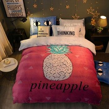 winter 4Pieces Cartoon pineapple Luxury Bedding Set King Size Queen Bed Set Fleece fabric Duvet Cover Bed Sheet Pillowcase