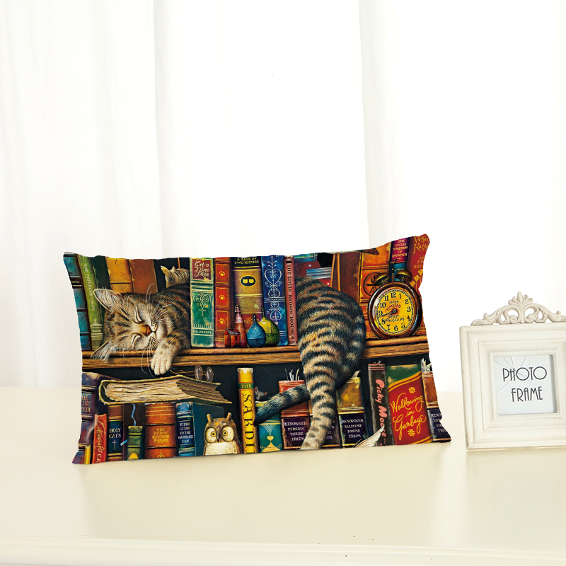 Personalized Bookshelf Cat Cushion Covers Fashion Creativity Home decoration <font><b>30x50</b></font> Decorative Beige Linen <font><b>Pillow</b></font> <font><b>Case</b></font> image