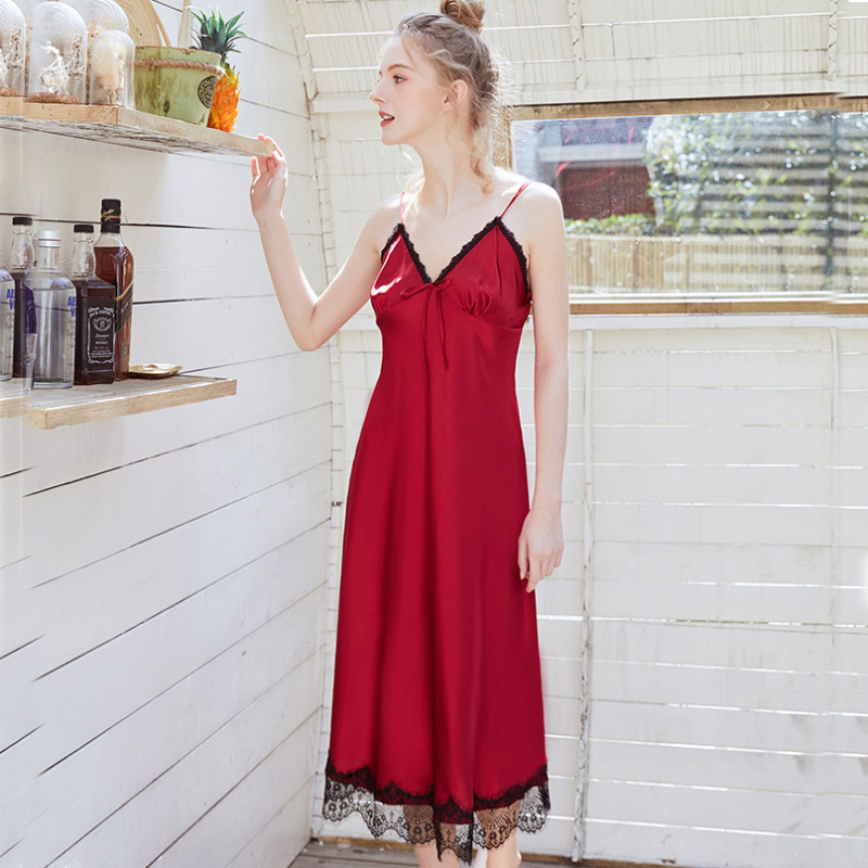 NG0374 Sexy Lingerie Nightdress Women Nightwear V-Neck Sleeveless Lace   Nightgown     Sleepshirt   Sleepwear Female Nightie Night Dress