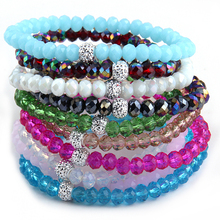 Free Shipping Energy Bracelets Made Beautiful Multil Glass Bracelet 6mm 10pc/lot(China)