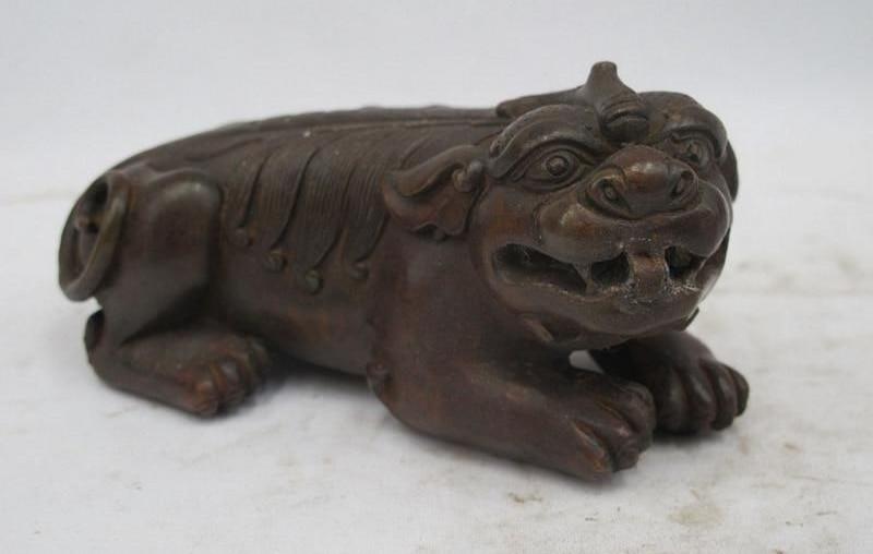 Chinese Folk bronze Copper talisman Animal Fu Foo Dog Lion Unicorn beast Statue
