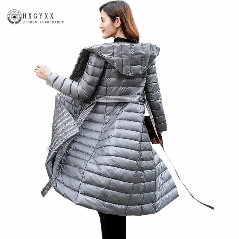2019 Ultralight White Duck   Down   Jacket Women Winter Goose Feather   Coat   Long Slim Overcoat Parka Solid Belt Outerwear Okd396