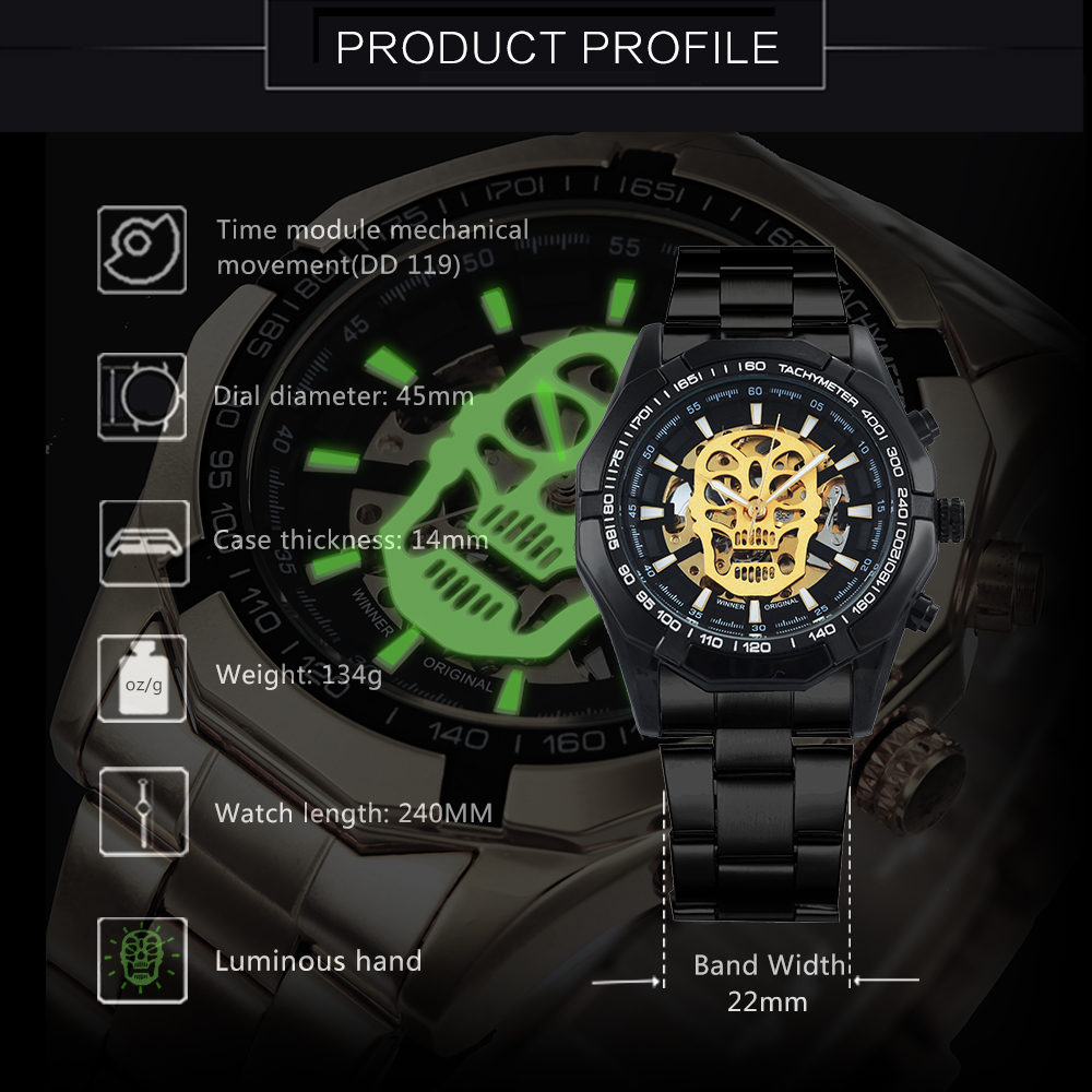 HTB1iBnArQ9WBuNjSspeq6yz5VXaC WINNER New Fashion Mechanical Watch Men Skull Design Top Brand Luxury Golden Stainless Steel Strap Skeleton Man Auto Wrist Watch