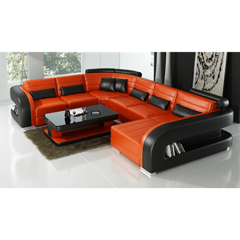 Home Furniture Black U-shape Living Room Furniture Sectional Sofa Set G8007 Fancy Colours