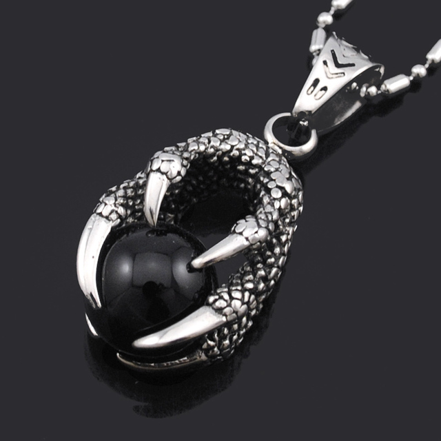 Atgo dragon claw with black crystal ball pendant necklace casting atgo dragon claw with black crystal ball pendant necklace casting stainless steel punk rock pendants mens mozeypictures Choice Image