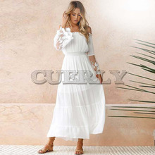CUERLY Summer Sundress Women White Beach Dress Strapless Long Sleeve Loose Sexy Off Shoulder Lace Boho Chiffon Maxi L8