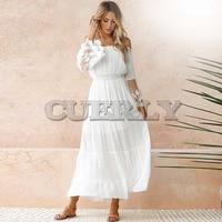 CUERLY Summer Sundress Women White Beach Dress Strapless Long Sleeve Loose Sexy Off Shoulder Lace Boho Chiffon Maxi Dress L8