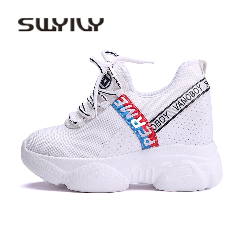 SWYIVY Sneakers Shoes Platform Woman Autumn Mesh Breathable Female Casual  Canvas Shoes Wedge Increased Ulzzang Lady 1e3bf78c43bb