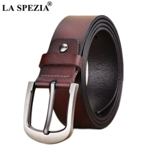 LA SPEZIA Men Leather Belt Coffee Pin Buckle Belt For Trousers Male Vintage Genuine Cow Leather High Quality Retro Belts For Men цена