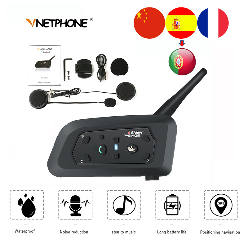 QPLOVE VnetPhone V6 1200m Bluetooth Helmet Intercom Wireless Talking 6 Riders Connection 100Hours Standby Motorcycle Accessories