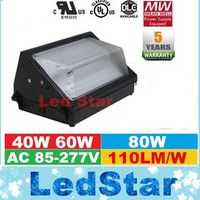 40W 60W 80W Led Wall Pack Light Lamp Outdoor Wall Mount LED Garden lamp AC 90 277V Mean Well Driver UL DLC