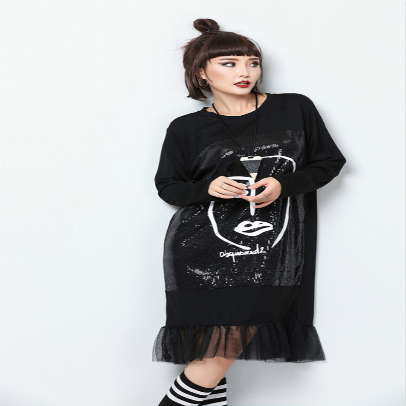 Women Sequins Dress Patchwork Mesh Sheer Printed Character Abstract Pattern  Black Crew Neck Loose Baggy Casual Shiny Fashion New-in Dresses from Women s  ... 55d8a665ec3c