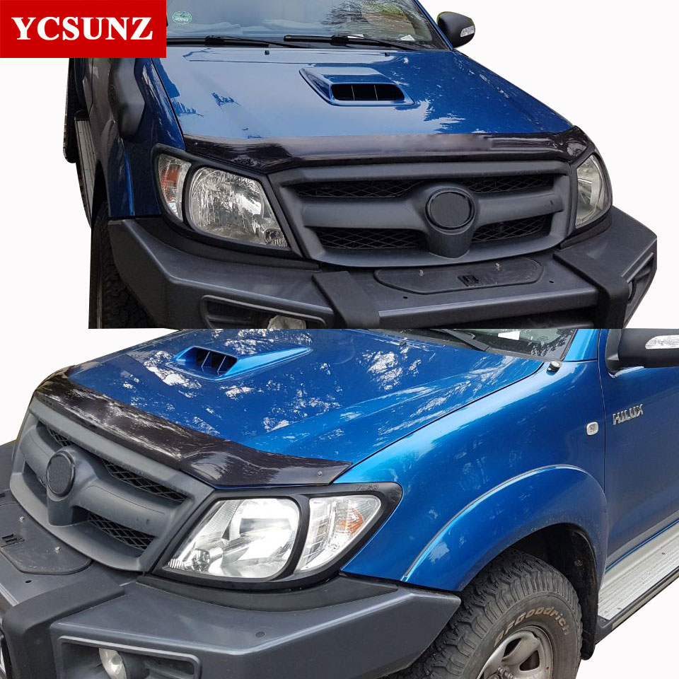 Hilux Accessories ABS Matte Black Headlights Covers For Toyota Hilux Vigo 2005-2010 Car Styling For Toyota Hilux Auto Parts