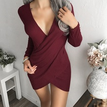 ElSVIOS Sexy Deep V Neck Cross Strap Dress Sheath Pack Hip Dresses Women Long Sleeve Knitted Bodycon Mini Dress Female Vestidos
