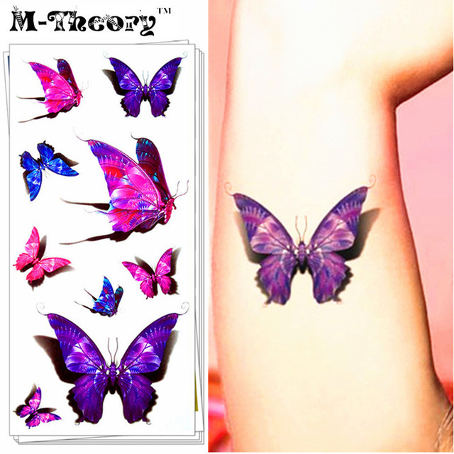 M-theory 3D Violet Butterfly Temporary Tattoos Body Arts Flash Tatoos Stickers 19x9cm Swimsuit Bikini Makeup