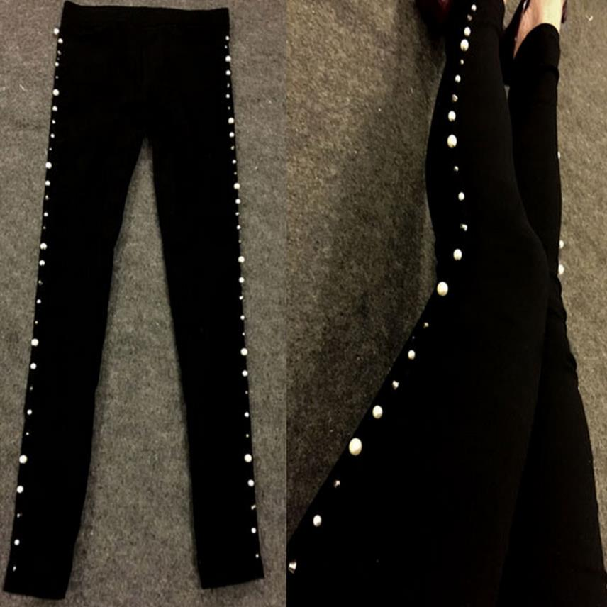 Women Leggings Rhinstone Trousers Cotton Stretch Rivet Beading Pant