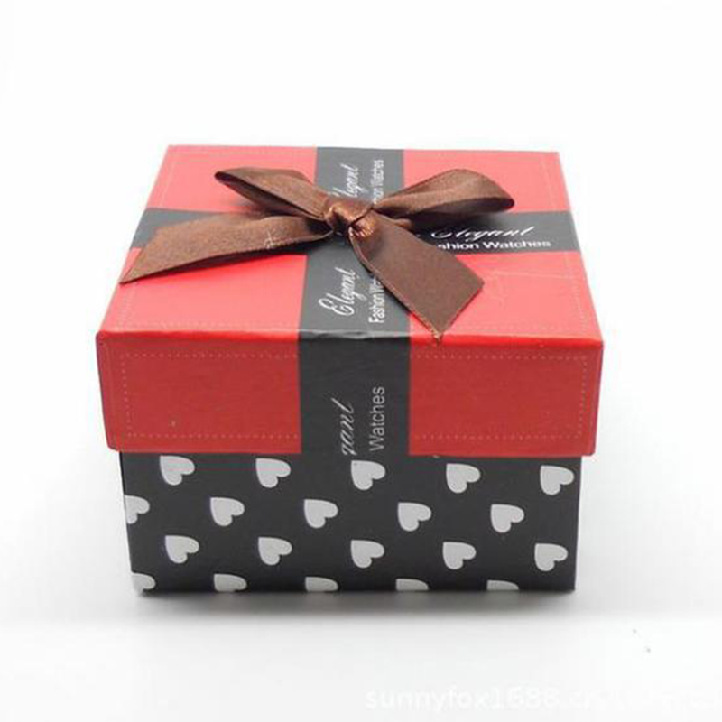 Red Watch Box With Pillows Beautifully Bow Square Paper Watch Gift ...
