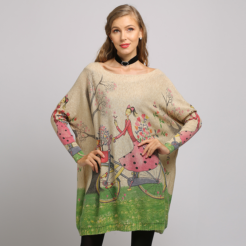 XIKOI New Woman Sweater Oversize Long Batwing Sleeve Pullovers O-Neck Knitted Fashion Casual Regular Girl Print Clothes