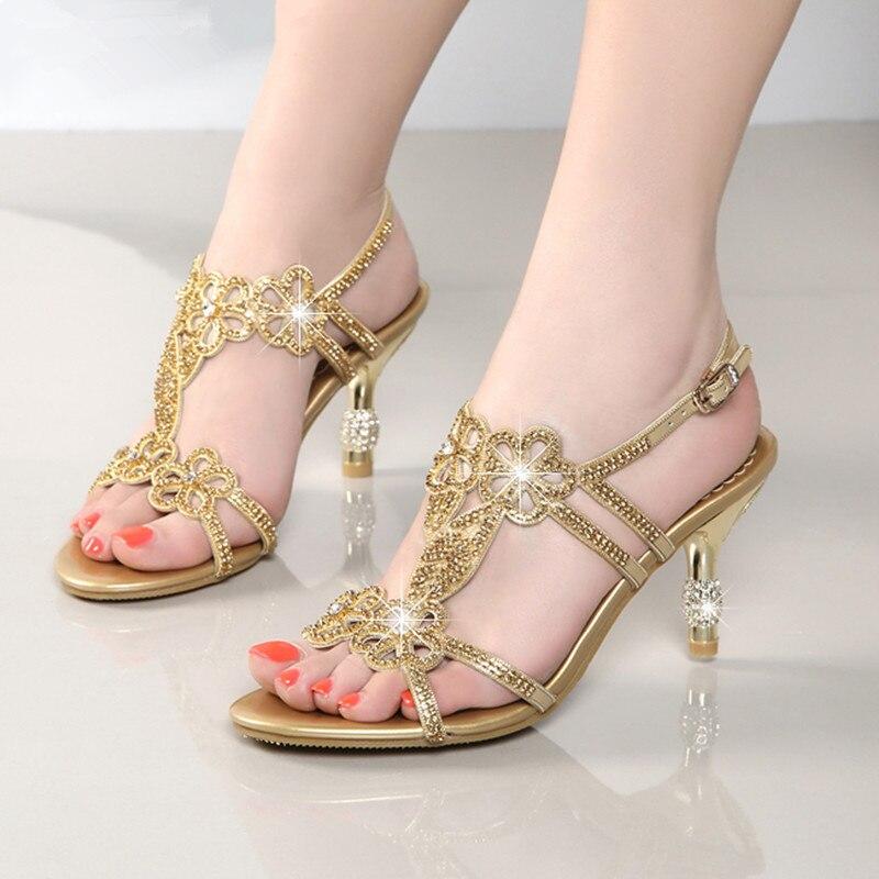 5ccd917e8 2018 Summer Women High Heels Rhinestone Sandals Female Fetish Gladiator Crystal  Gem Heels Shoe Lady Gold Sexy Pumps XMX-A0014