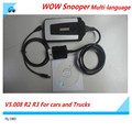 Top quality WOW Snooper Multi-language V5.008 R2 R3 For cars and Trucks Car Diagnostic Tool Better Than TCS CDP Pro