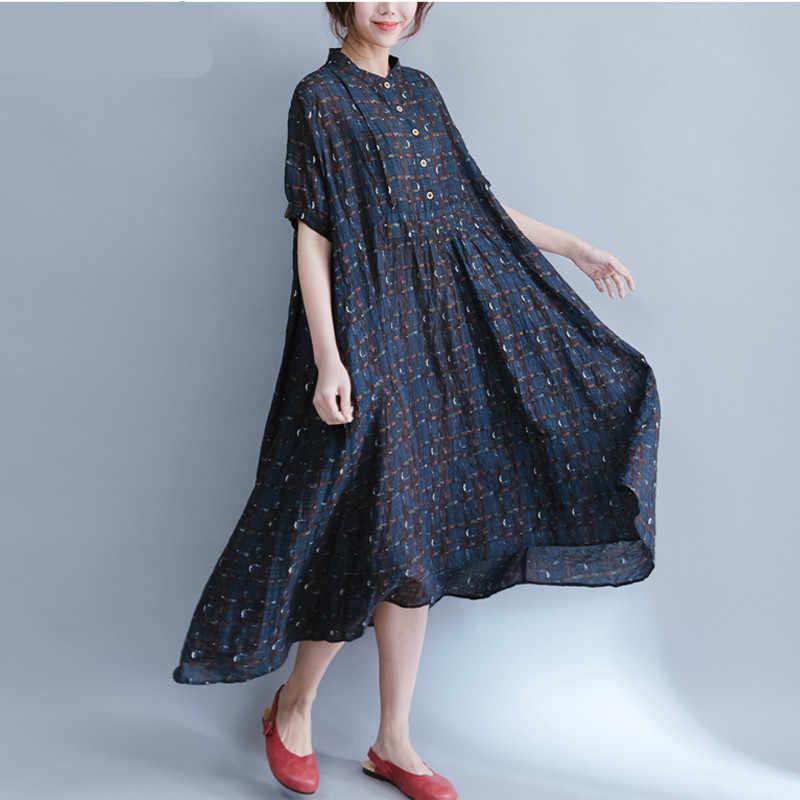 プラスサイズレトロ不規則なチェック柄リネンシャツドレス女性 2019 夏のエレガントなヴィンテージロングドレス韓国ローブフェムセクシー 4XL 5XL