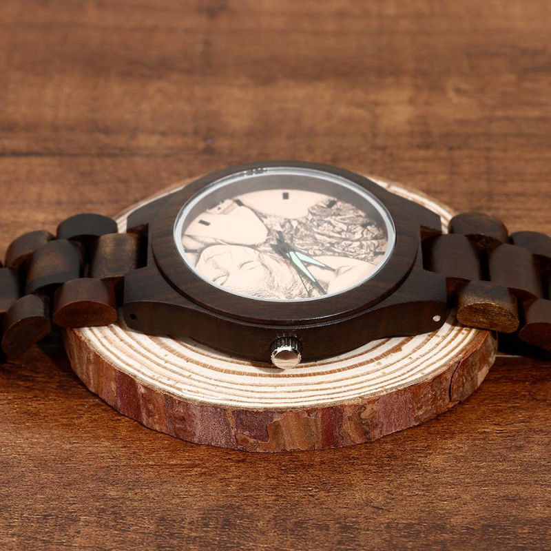US $0 6 |Men's Engraved Wooden Photo Watch Wooden Strap Personalized Custom  Design Print on Demand Dropshipping Shopify WooCommerce-in Lover's Watches