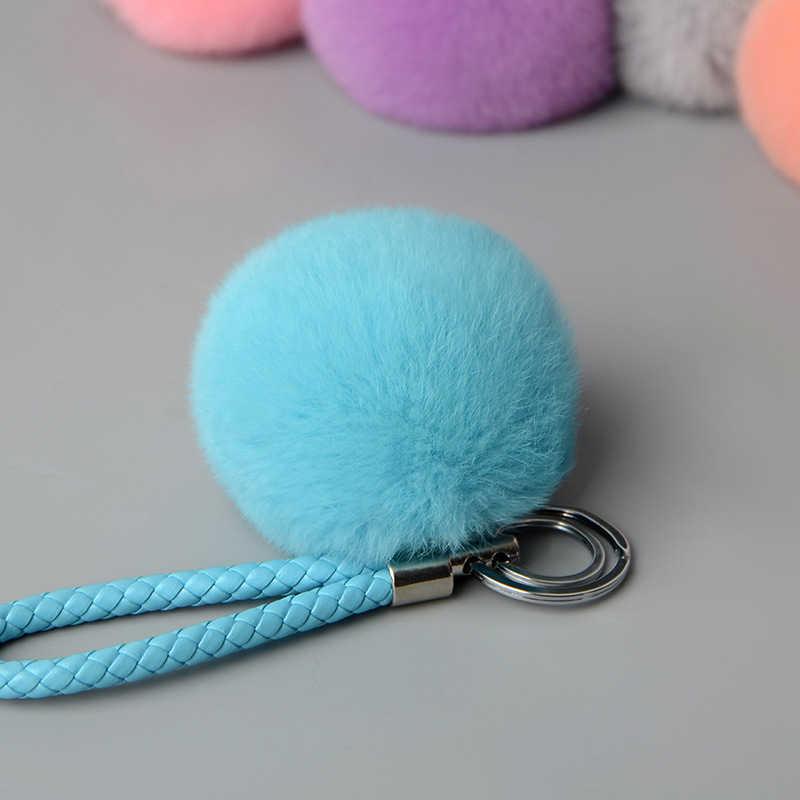 Moda 8 cm Coelho Macio Fur Pom Pom Pompons Keychain Corda De Couro Chaveiro Casal Chaveiro Chaveiro Pingente Charme Bag presentes