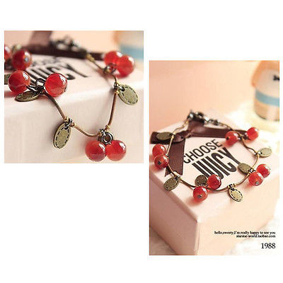 Fashion Sweet Girls Women Lady Chain Bracelet With Ruby Cherries Charm Pendant