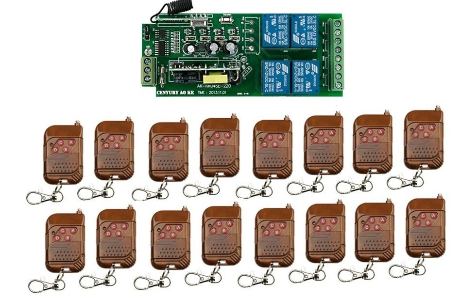 85 В ~ 250 В 4ch rf Беспроводной Дистанционное управление реле безопасности Системы Garage Дверные рамы 1 x приемник и 16 X передатчик