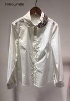 FOMOLAYIME модные блузки 2018 осенью новый белый хлопковая блуза рубашки Для женщин