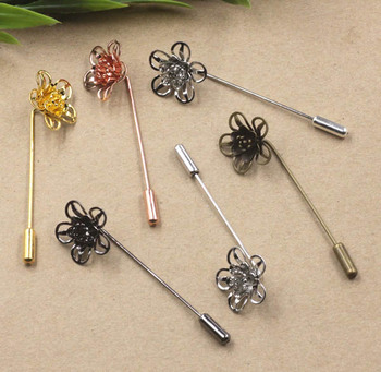 18x7mm Blank Filigree 3D Flower Brooch Pins w/ a Stopper Hat Pins Safety-pin Settings Multi-color Brooches Bases Findings