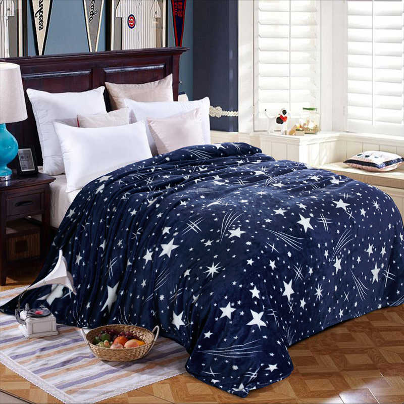 DIDIHOU Stars Bedspread Fleece Blanket Winter Warm Soft Flannel Blankets for Sofa Sofa Blanket Bed Cars Portable Home Decors