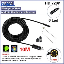 Black 2.0MP HD 720P 2 in 1 Android Endoscope 8mm Lens 6 LED Waterproof Borescope Inspection Camera with 10m Length USB Cable