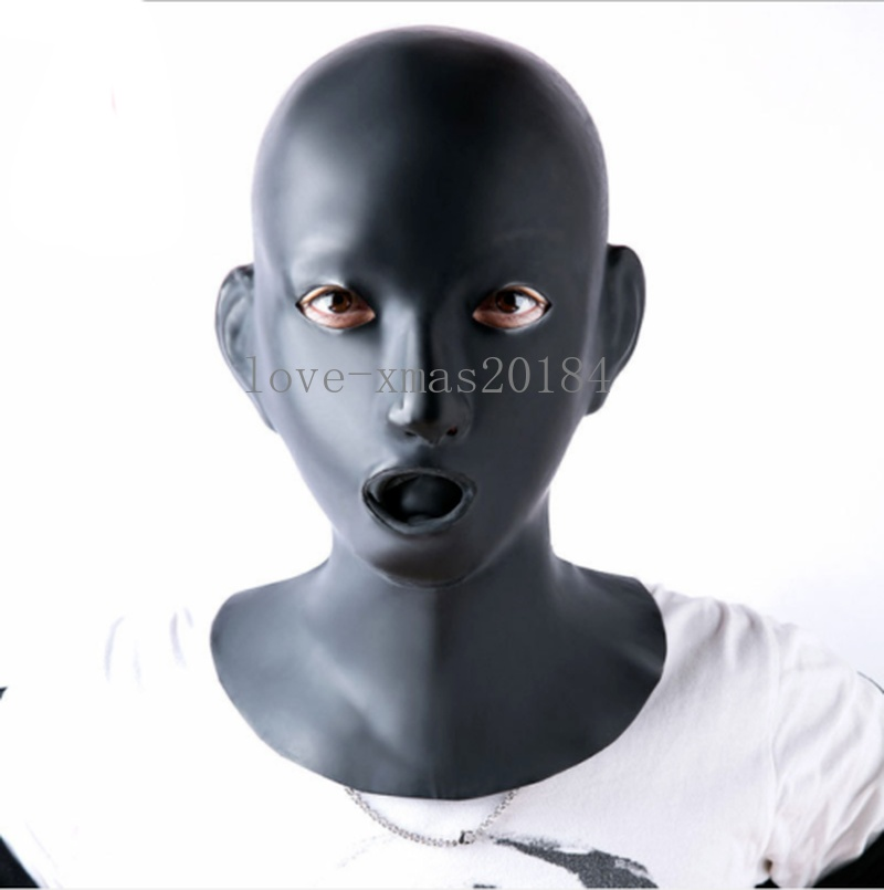 Women Natural Latex Mask Hood Eyes Open With Mouth Gag Nose tube For Female bdsm sex