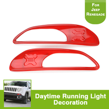 2PCS Red Daytime Running Fog Light Trim DRL ABS Chrom Frame Cover Car Styling Accessories for Jeep Renegade 2014-2016