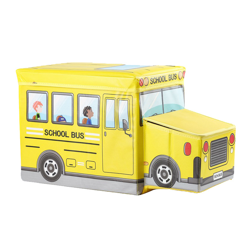 New Safari Bus Kids Folding Storage Bin Toy Box Clothes: NEW Cartoon Bus Shape Toys Organizer For Kid Clothes Toy