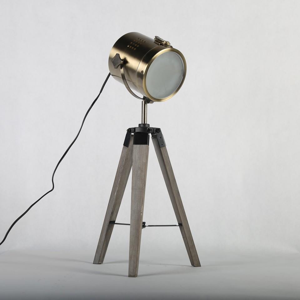 Retro Royal Wood tripod Table Search Light Lantern,Bronze led desk light flexible led desk light bar 7
