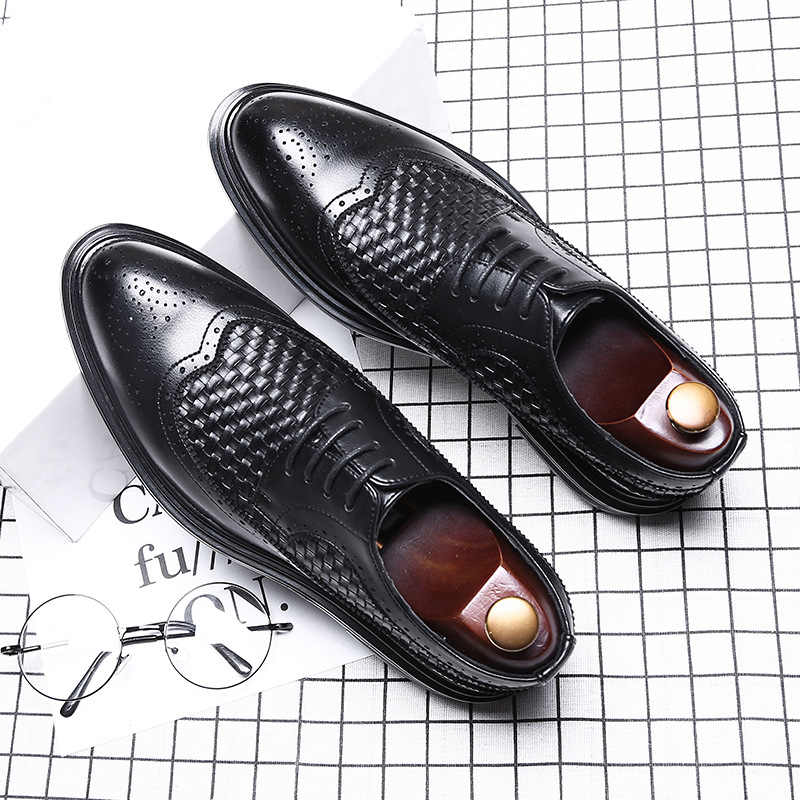 luxury brand brogue oxford shoes for men pointed toe dress shoes men italian leather woven formal wedding shoes sapato social