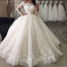 SexeMara Ball Gowns Long Sleeves Bridal Gowns Wedding Dress