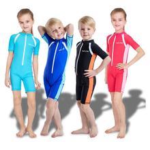 купить Summer Children Boy Girl Short Sleeve Zipper Swimsuit One-piece Swimming learning Bathing Suit kids swimwear for girls boys suit дешево