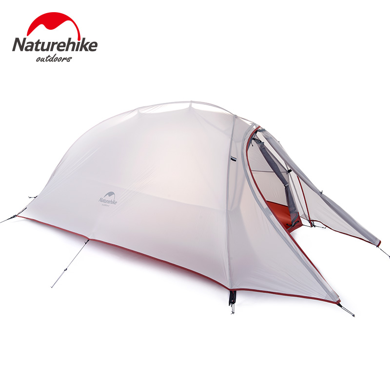 Naturehike Tent 1.1kg  1 Person 20D Silicone Fabric Double-layer Camping Tent Ultralight Outdoor Tent 4Seasons NH15T001-T nh cloud outdoor single person camping tent anti rain 4seasons ultraportability 20d nylon silicone cated waterproof 8000mm